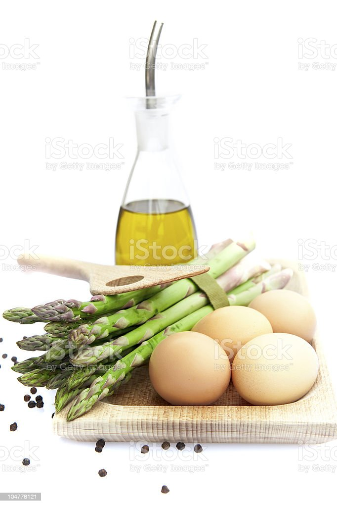 Asparagus, Eggs and Olive oil royalty-free stock photo