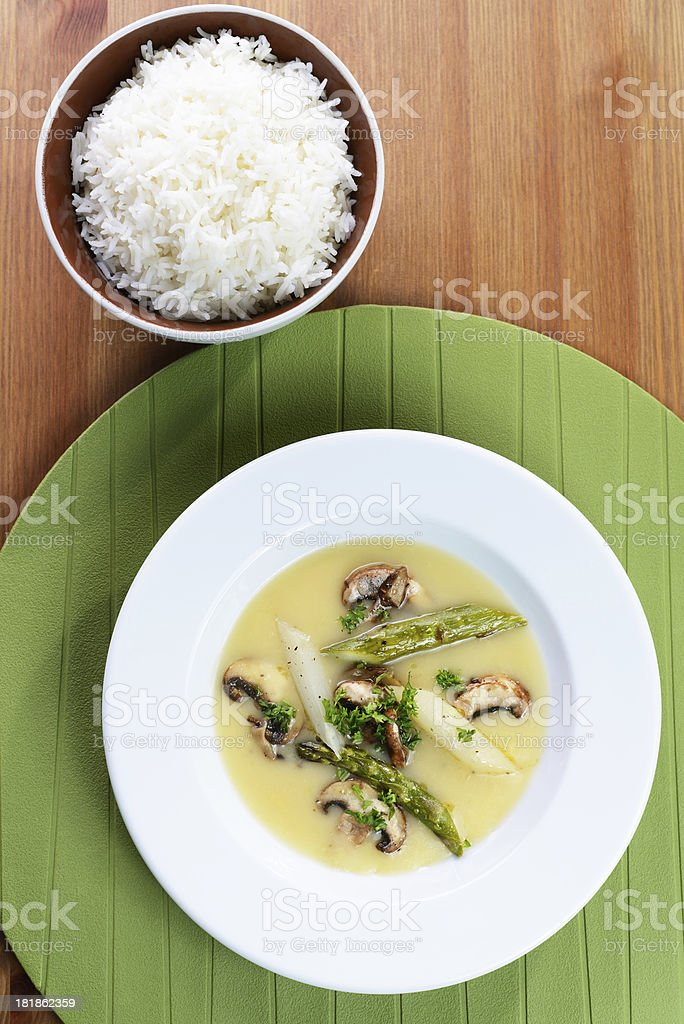 Asparagus fricassee and rice royalty-free stock photo
