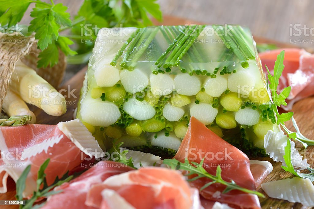 Asparagus jelly with ham stock photo