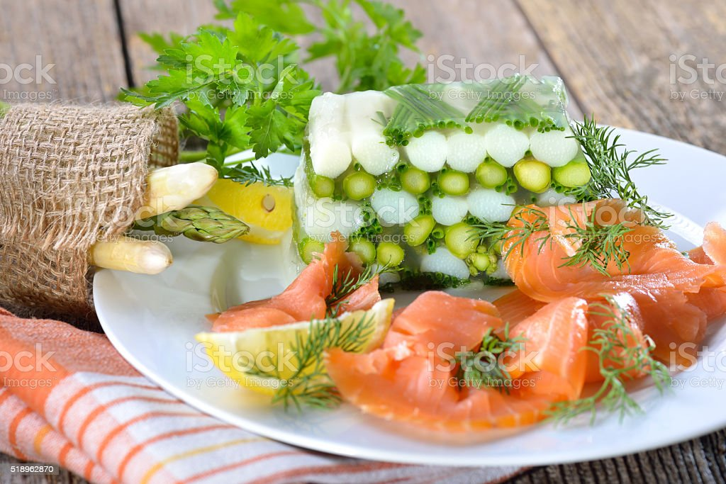 Asparagus jelly with salmon stock photo