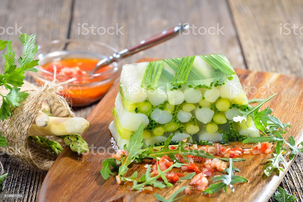 Asparagus jelly with vinaigrette stock photo