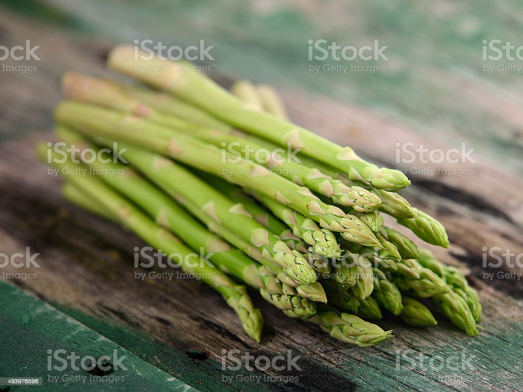 asparagus on old wooden stock photo