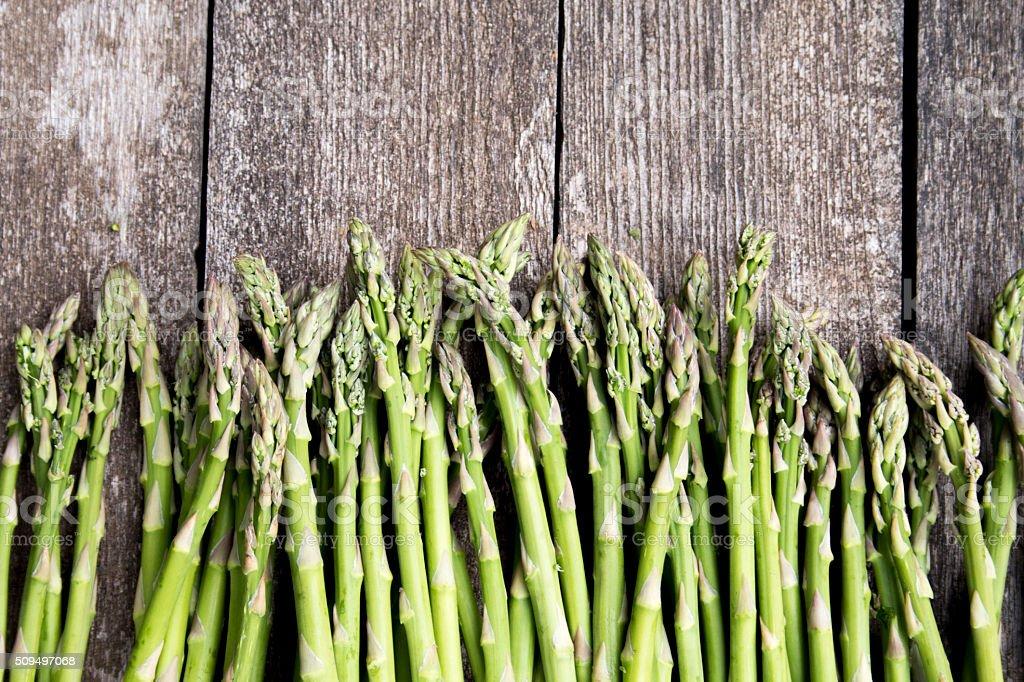 Asparagus on Weathered Wood stock photo