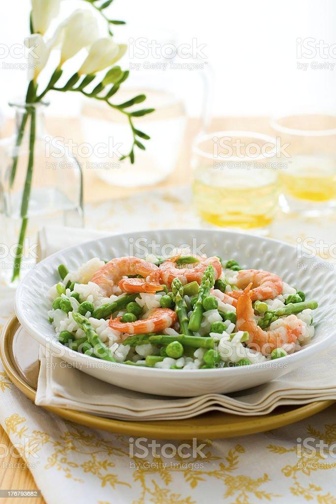 asparagus shrimp risotto royalty-free stock photo
