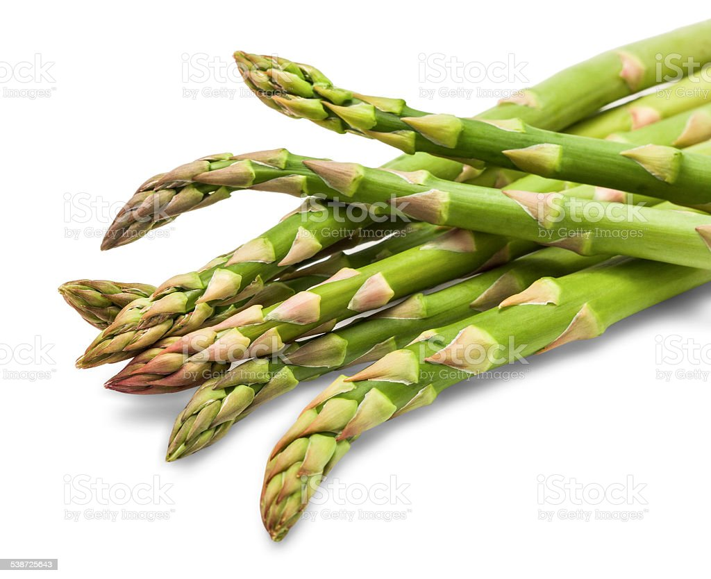 Asparagus stalks isolated on a white background stock photo