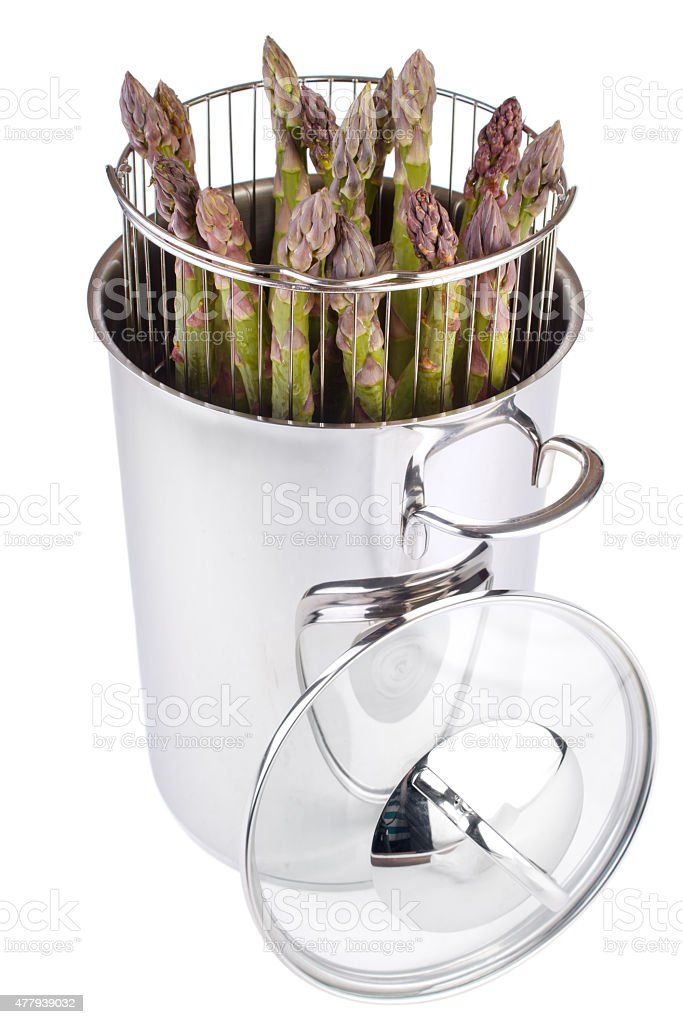 Asparagus steam cooker royalty-free stock photo