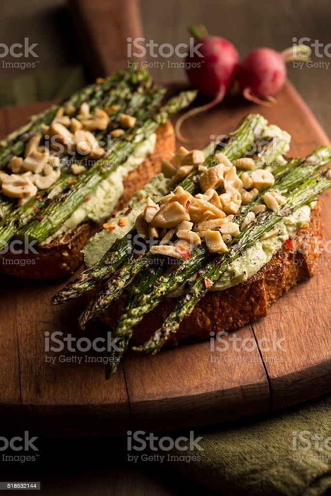 Asparagus Toast stock photo