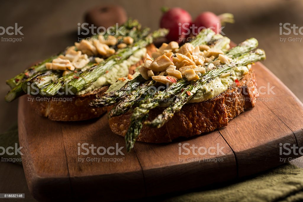 Asparagus Toast stock photo