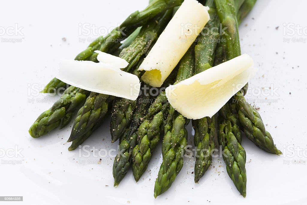 Asparagus with butter and pepper royalty-free stock photo