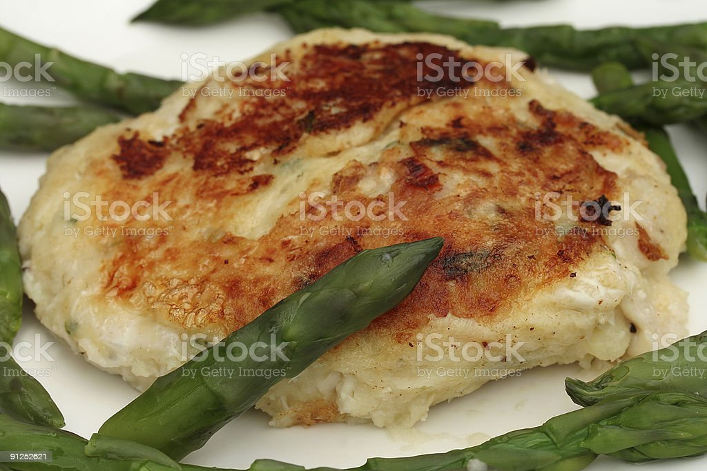 asparagus with fish cake royalty-free stock photo