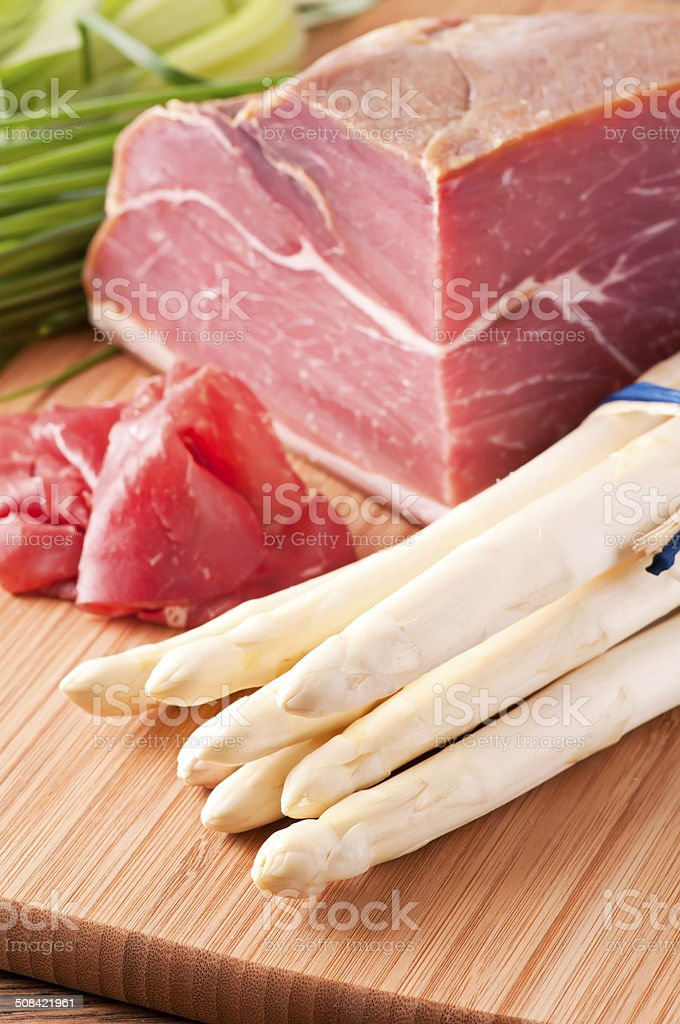 Asparagus with Ham royalty-free stock photo