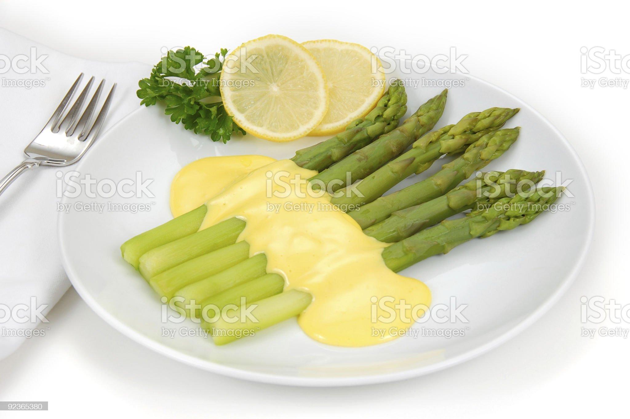 Asparagus with Hollandaise royalty-free stock photo