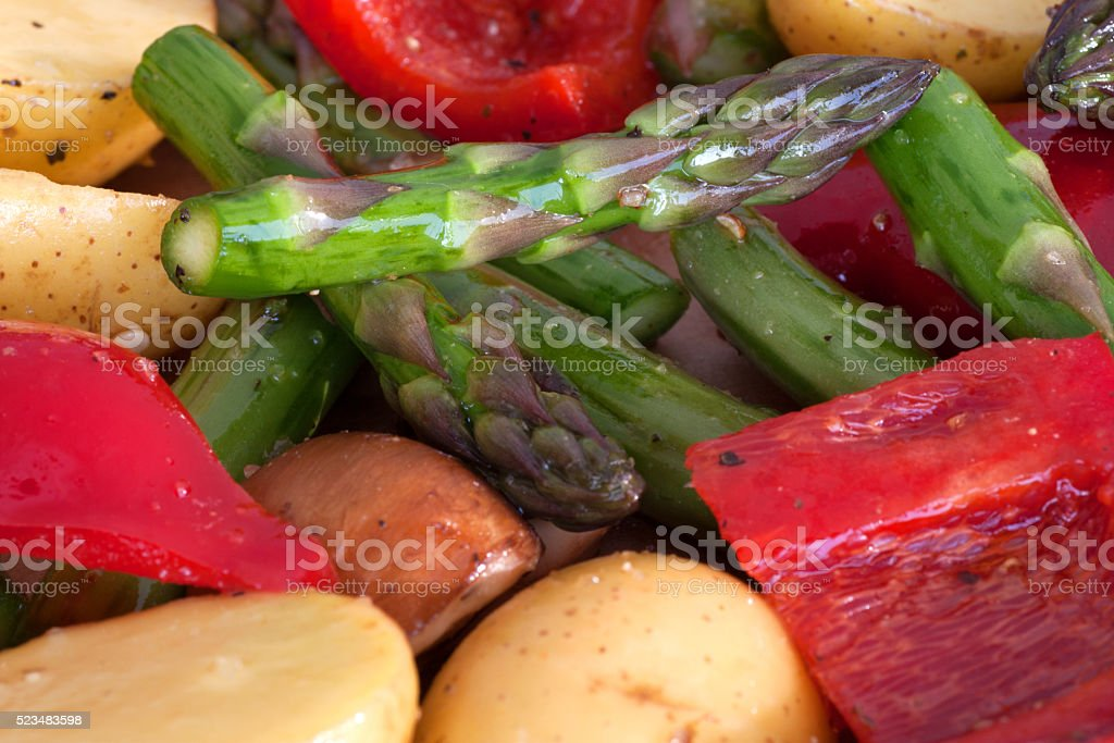 Asparagus with mixed vegetables stock photo