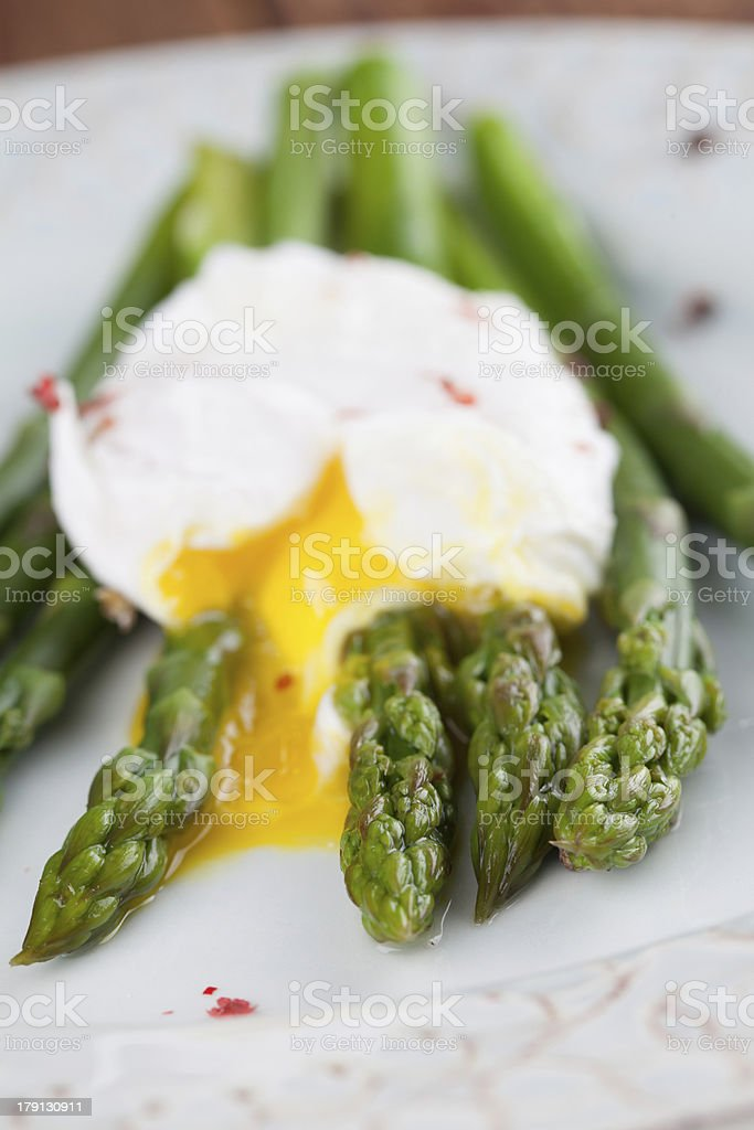 Asparagus with poached egg royalty-free stock photo