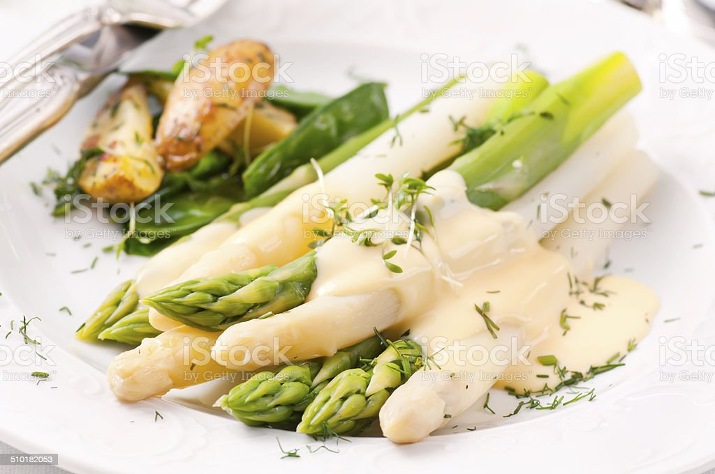 Asparagus with Potatoes stock photo