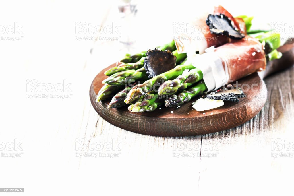 Asparagus with speck. stock photo