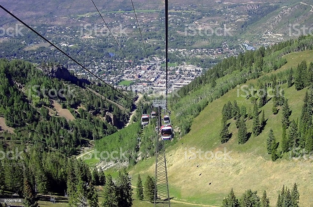 Aspen, Colorado from above in Summer. royalty-free stock photo
