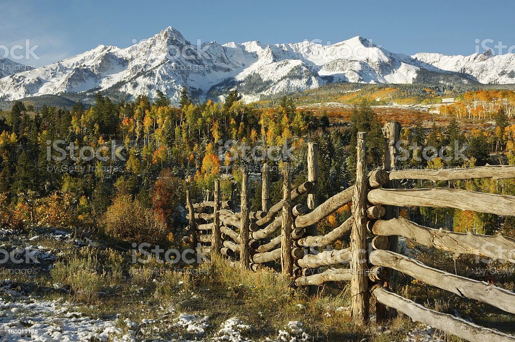 Aspen Fall Colors at Mt Sneffels stock photo