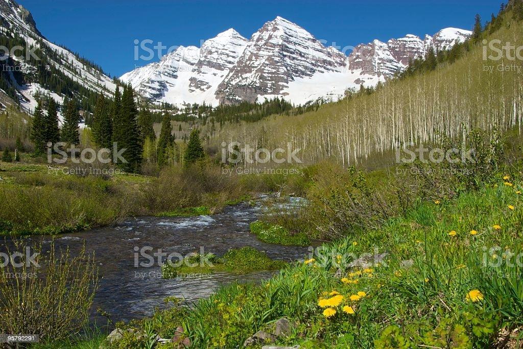Aspen Mountains in Springtime stock photo