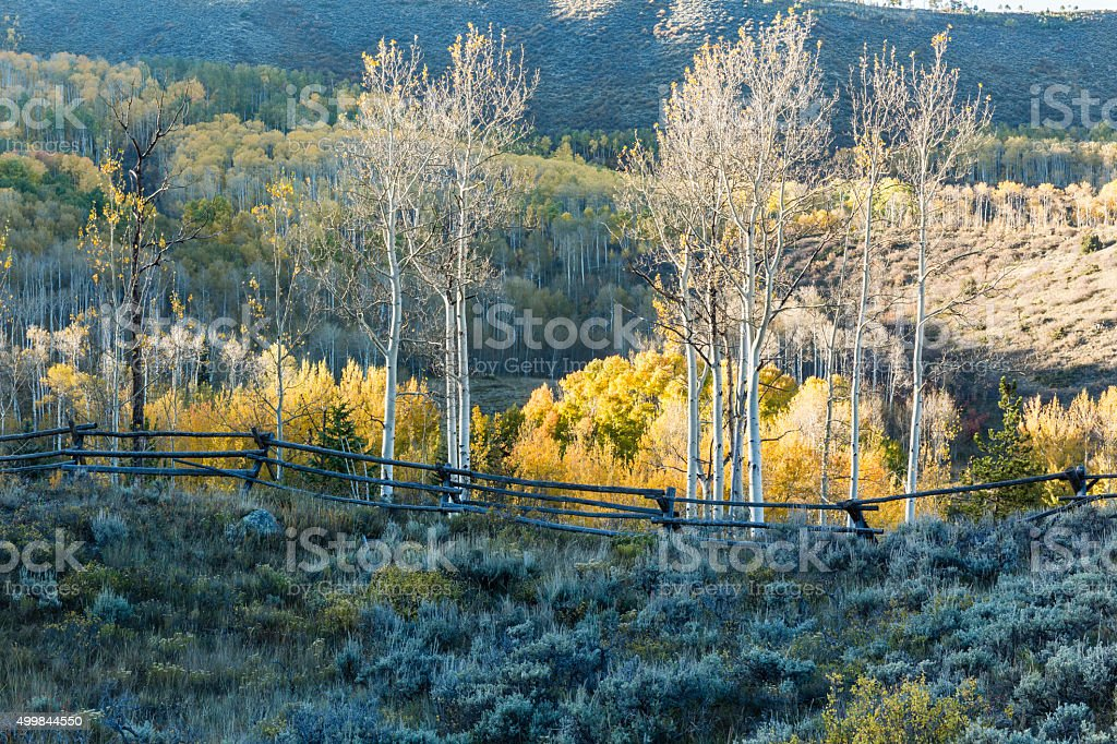 Aspen Ridge and Wooden Fence stock photo