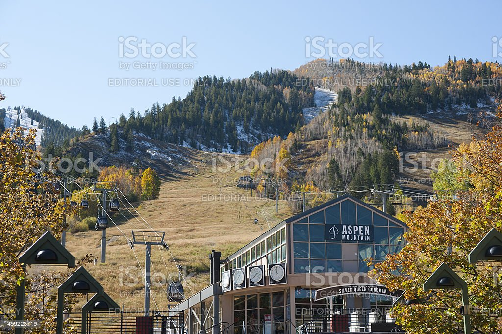 Aspen Ski Mountain and Gondola in Autumn royalty-free stock photo