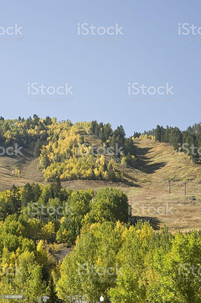 Aspen Ski Mountain in Fall Color stock photo