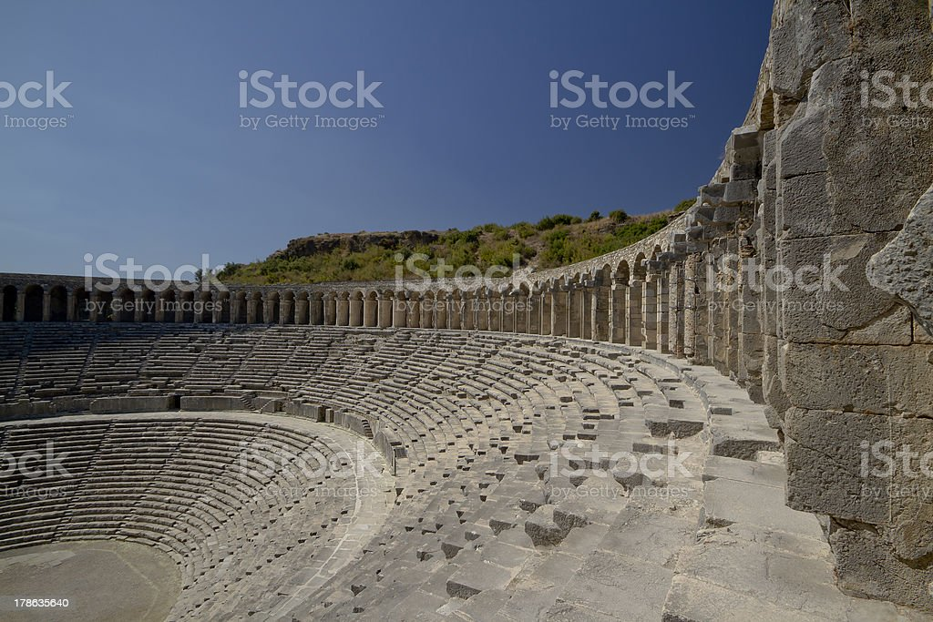 Aspendos Amphitheatre in Turkey royalty-free stock photo