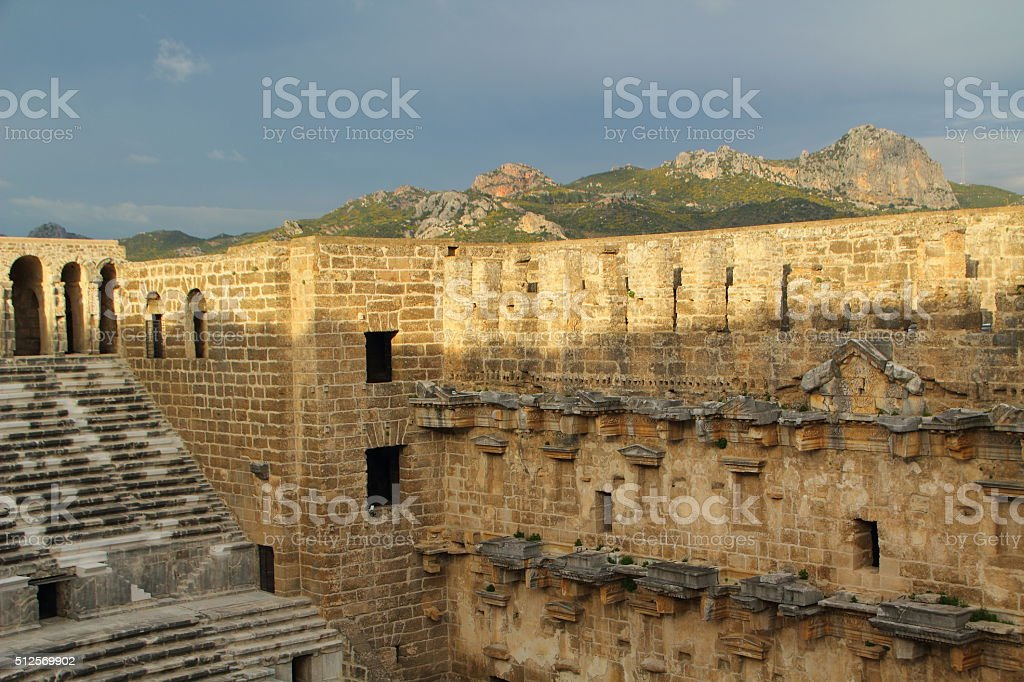 aspendos theater in turkey stock photo