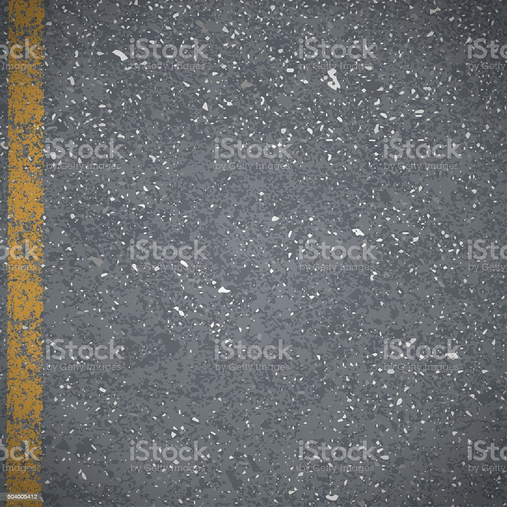 Asphalt abstract vector road pavement with cracked yellow marking vector art illustration