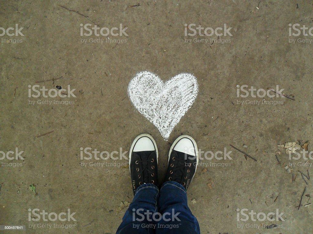 asphalt and feet stock photo