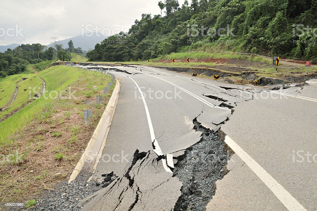Asphalt Cracked Road Collapsed stock photo