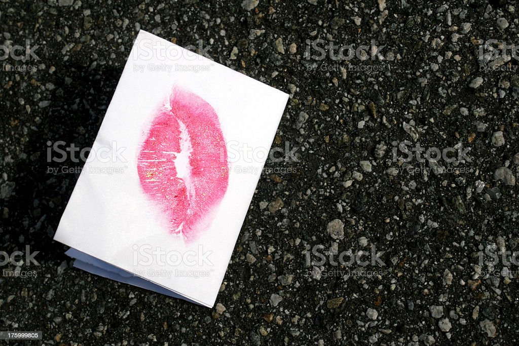 Asphalt loveletter stock photo