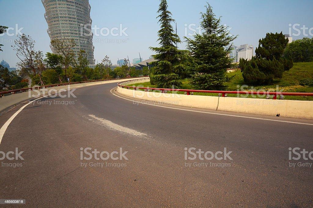 Asphalt pavement curve city road stock photo