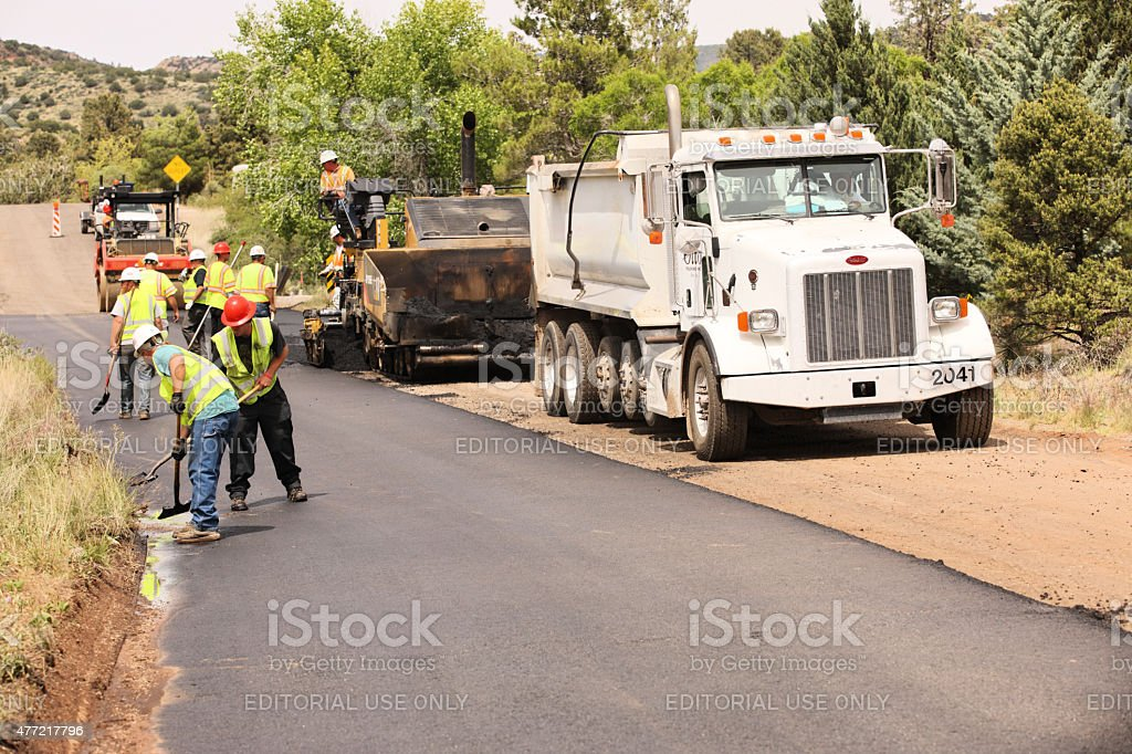Asphalt Paving Machine Road Construction stock photo