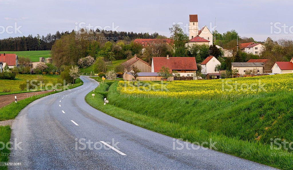 asphalt road and german village stock photo