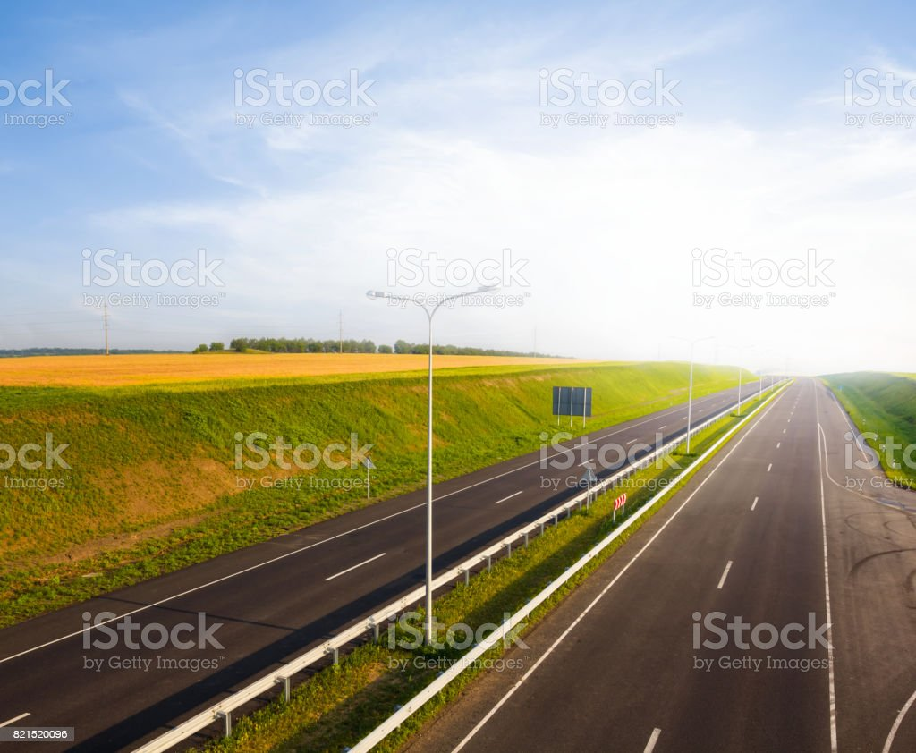 asphalt road at the early morning scene stock photo