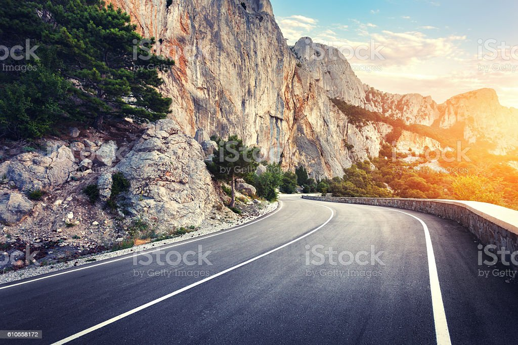 Asphalt road. Colorful landscape with beautiful winding mountain stock photo