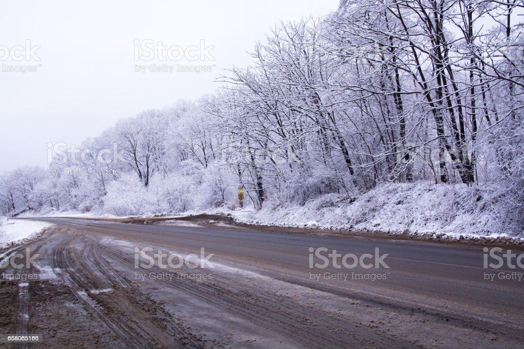 Asphalt Road Covered By Slush. stock photo
