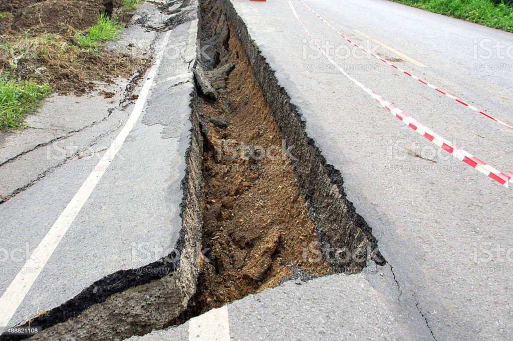 Asphalt road cracks and collapsed stock photo