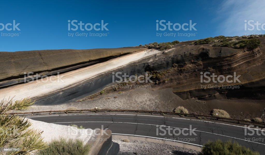 asphalt road in mountain landscape - lava rock formation stock photo