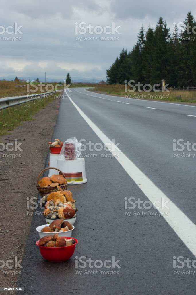asphalt road in mountains and basket with mushrooms stock photo