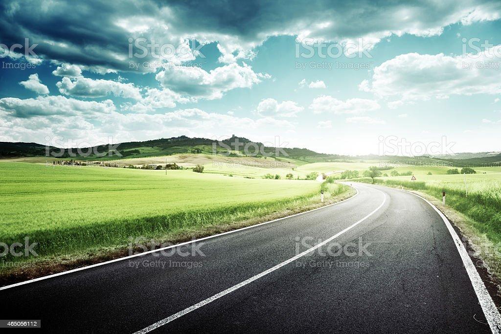 asphalt road in Tuscany Italy stock photo