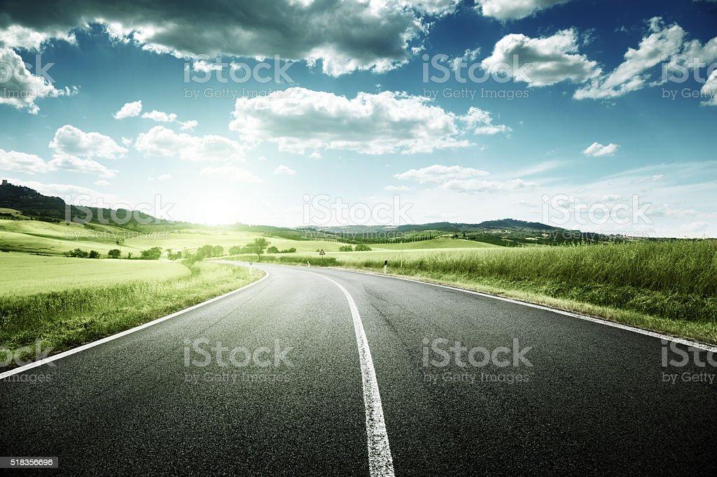asphalt road in Tuscany, Italy stock photo