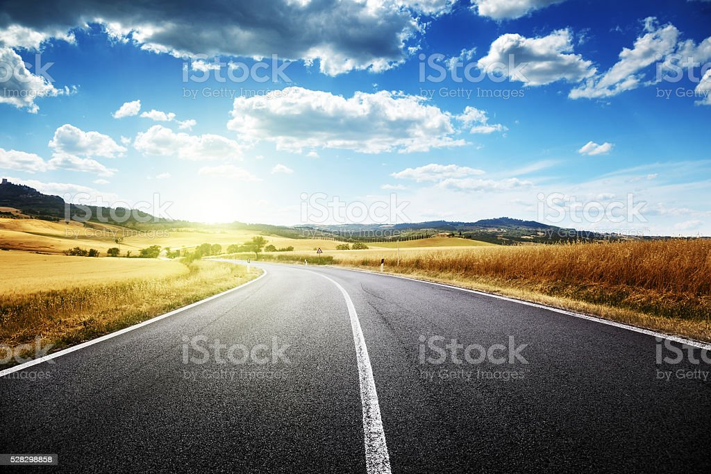 asphalt road in Tuscany, Italy stock photo