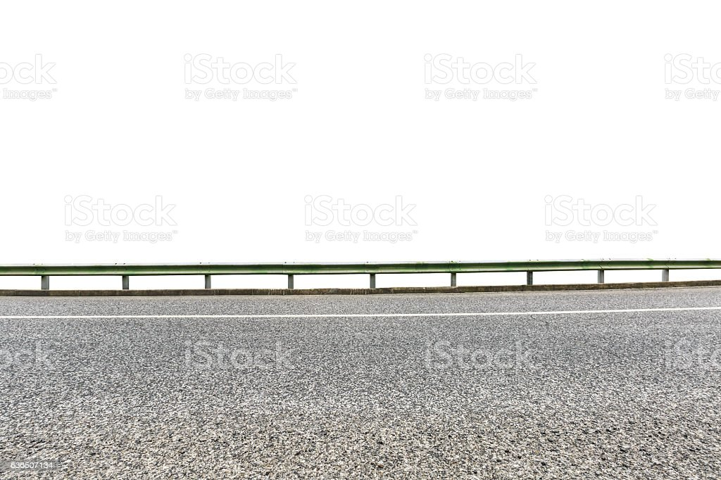 Asphalt road on white with path stock photo