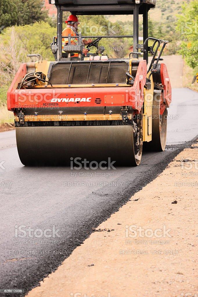 Asphalt Road Roller Grader Construction Machinery stock photo