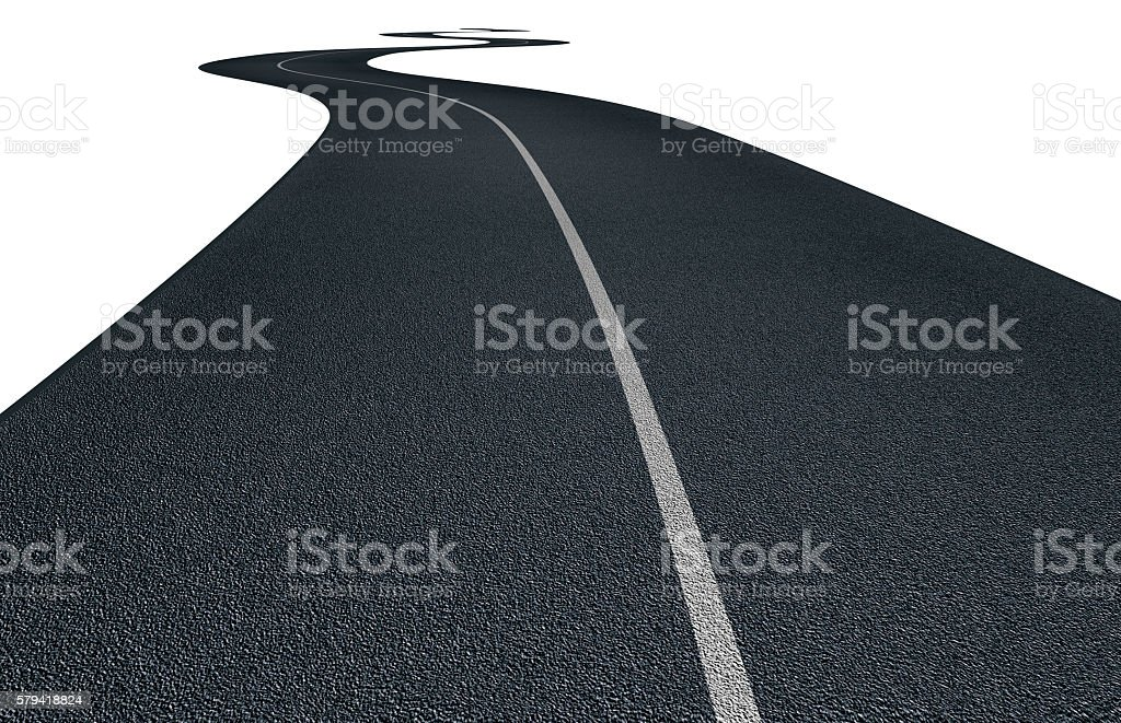 asphalt road with curves isolated on white stock photo