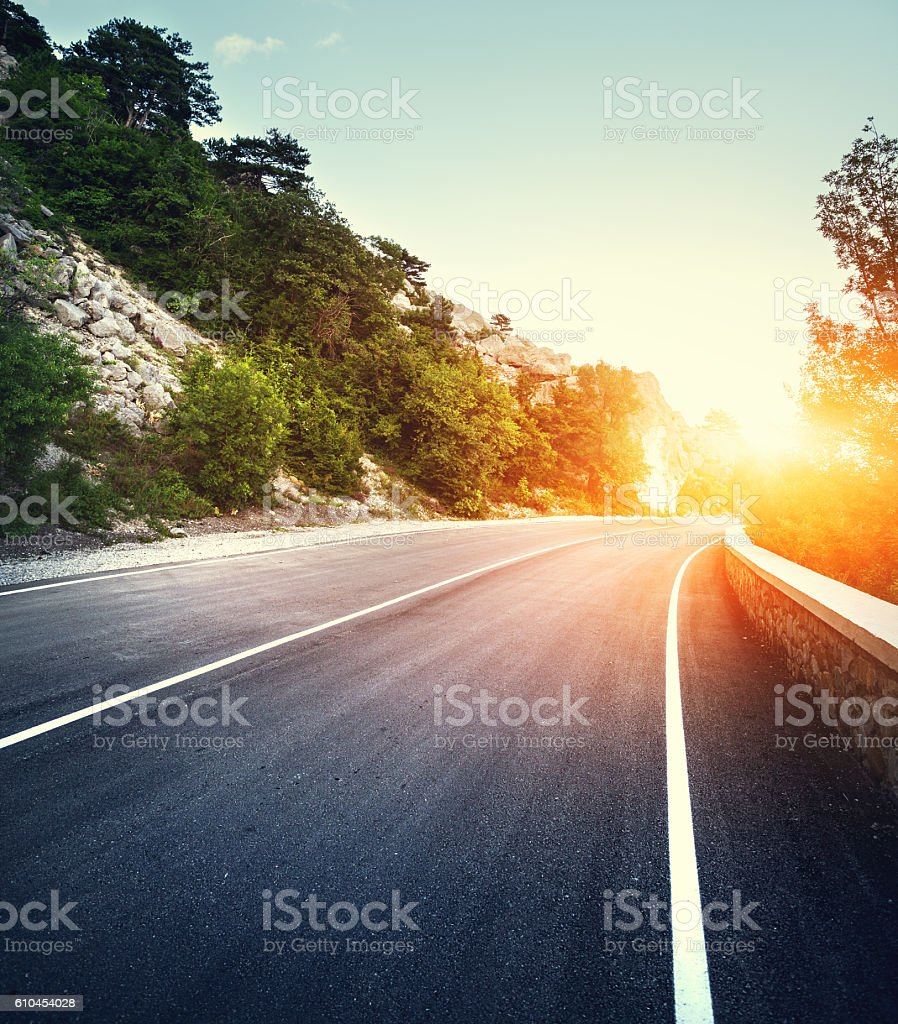 Asphalt road with instagram toning. Landscape with mountain road stock photo