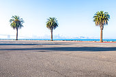 asphalt road,sea with cityscape and skyline of san francisc