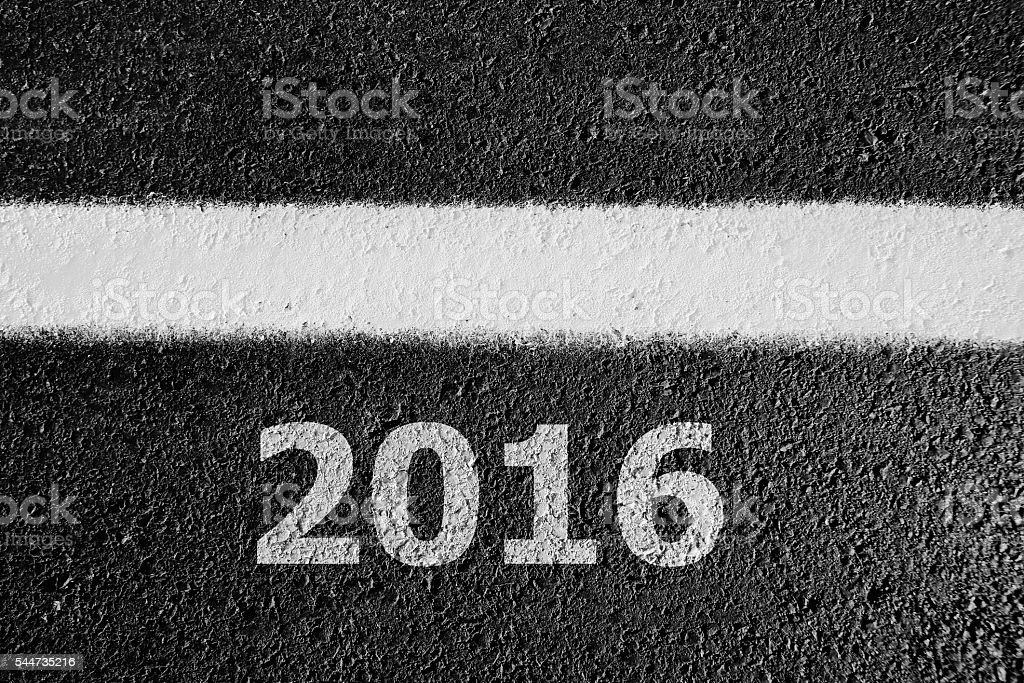 2016 asphalt sign stock photo